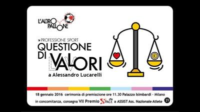 a Alessandro Lucarelli l'Altropallone, cerimonia Lunedì 18 gennaio 2016 a Milano
